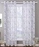 Cheap LivebyCare 1 Panel Patterns Semi-Sheer Window Curtain Drapery Grommet Top Ring Linen Room Windows Treatments Drapes for Living Room Lounge