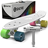 Skatro - Mini Cruiser Skateboard. 22x6inch Retro Style Plastic board Comes Complete. Model: White Rainbow