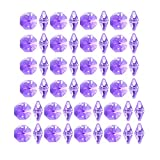 uxcell 50Pcs Crystal Glass Beads Purple Octagonal Drops Chandelier Pendants Decoration for DIY Light Accessories 14mmx6.7mm
