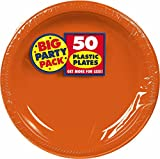 Amscan Big Party Pack 50 Count Plastic Lunch Plates, 10.25-Inch, Orange