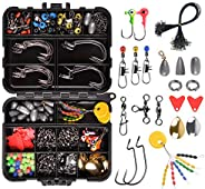 Fishing Swivels Accessories Tackle Box Including Worm Fishing Hooks Sinker Slide Weight Swivel Snaps for Saltw