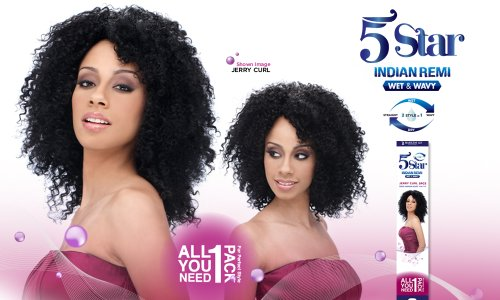 5 STAR Indian Remy Wet & Wavy Human Hair JERRY CURL 5 PCS - (#1 Black) (Rain Indian Remy Wet And Wavy Jerry Curl)