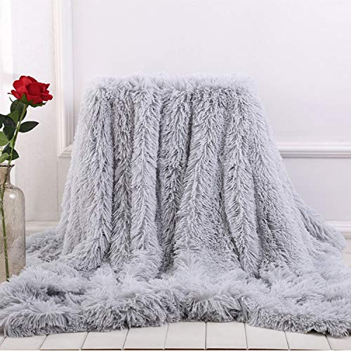 Winter Artifact Soft Fur Throw Blanket on The Couch Long Shaggy Fuzzy Fur Faux Bed Sofa Blankets Warm Cozy with Sherpa,Light Grey,130x160cm -