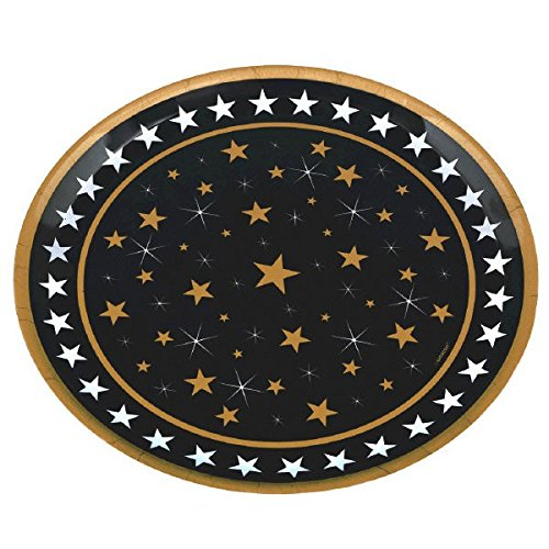 [Amscan Elegant Starry Night Round Party Serving Platter (Pack of 1), Multicolor, 13 1/2