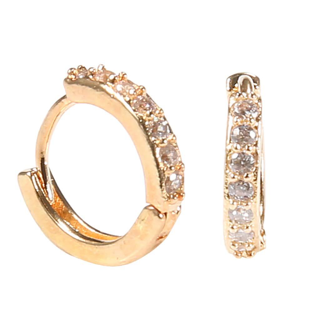 XBKPLO Rhinestones Rose Gold Hoop Earrings Simple Wild Diamond Earrings Hypoallergenic Women's Elegant Jewelry Gifts
