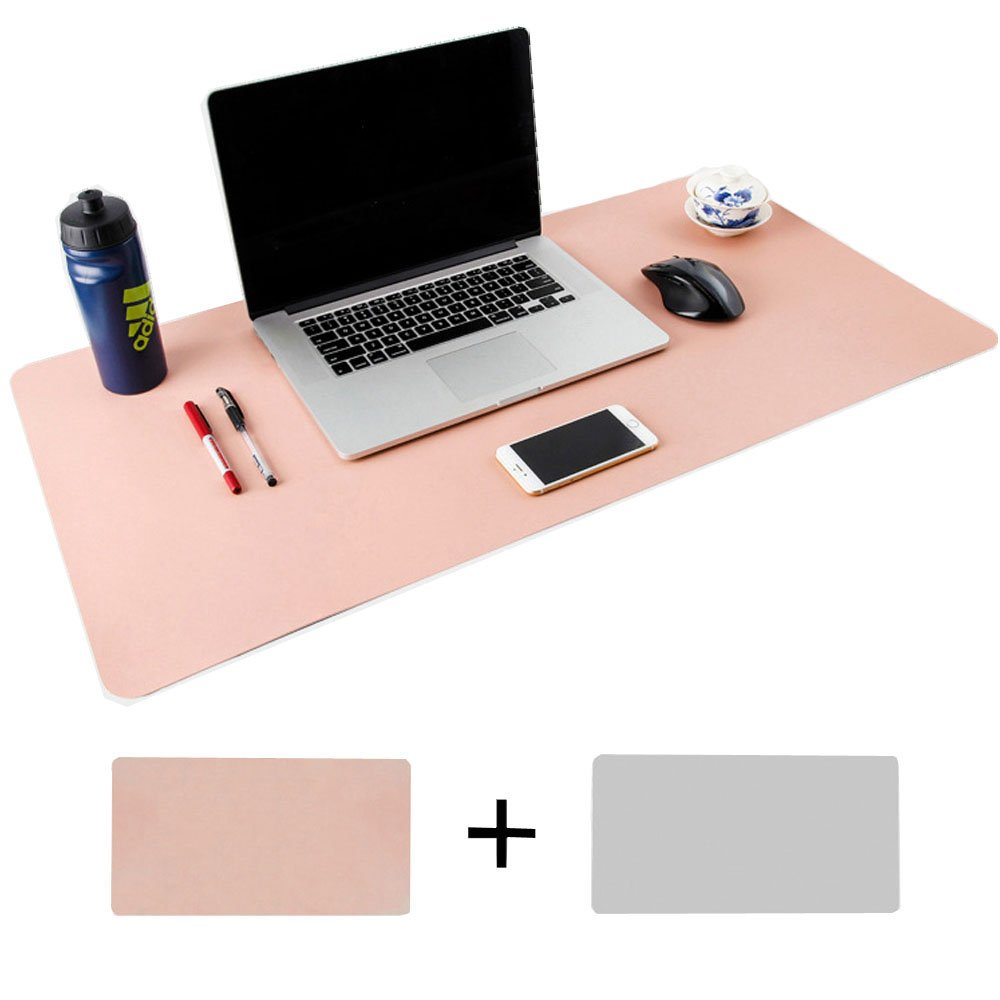 Desk Pad Protecter, Mirstan 31.5'' x 15.8'' PU Leather Large Office Desk Writing Mat Mousepad Waterproof, Dual Sides for Use (Pink&Gray) by Mirstan (Image #1)
