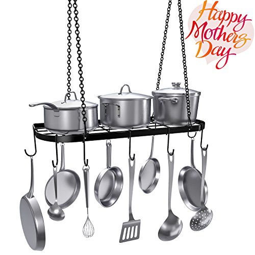 VDOMUS Pot Rack Ceiling Mount Cookware Rack Hanging Hanger Organizer with Hooks, (Island Display Rack)
