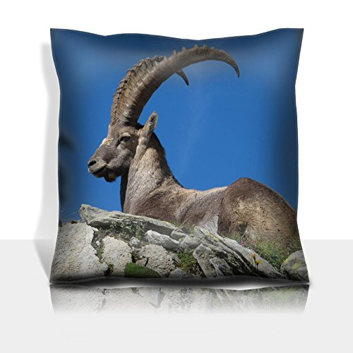 MSD Throw Pillowcase Polyester Satin Comfortable Decorative Soft Pillow Covers Protector sofa Majestic alpine ibex Image 36312883 Customized Tablemats Stain Resistance Collector Kit -