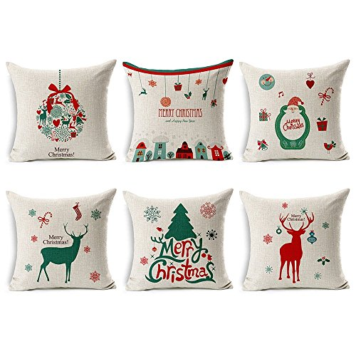 Tailbox Decorative Santa Claus Throw Pillow Covers Merry Christmas Series Cotton Linen Square Throw Pillow Case Xmas Decorations Cushion Cover for Home Office Sofa Couch 18