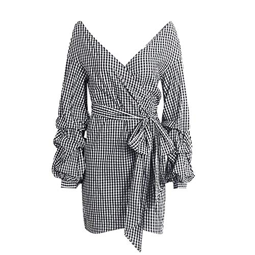 Dress Off Shoulder Plaid Long Lantern Sleeve Bow Belt Shirt Dress Stripe Vestidos,Black White Plaid,S