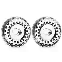 SODIAL(R) 2x Kitchen Waste Stainless Steel Sink Strainer Plug Drain Stopper Filter Basket