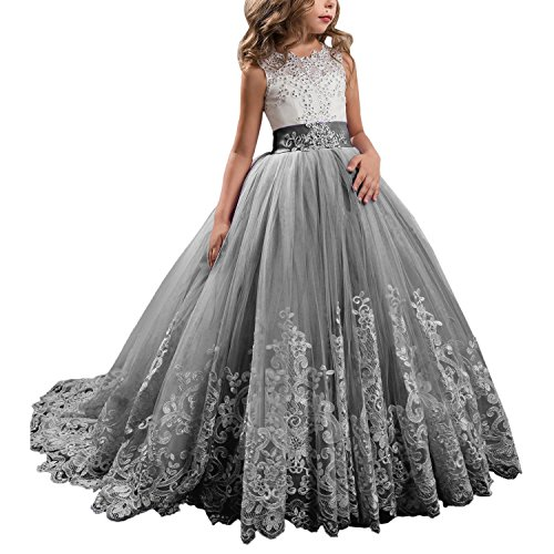 KSDN Wedding Flower Girls Dresses Princess Gowns First Communion Pageant Gowns(US 2 Silver Grey)
