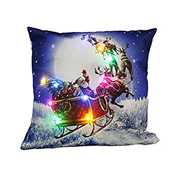 Cushion Cover Cushion Cover Pillowcase Light Up Pillow Cover Led Merry Christmas Glow Throw Led Light Pillow Case Super Soft Pillow Case Table & Sofa Linens