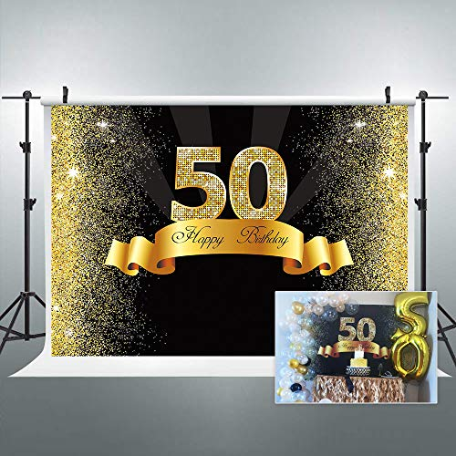 Riyidecor 50th Birthday Backdrop Litter Gold and Black PhotoPhotography Background 7x5ft Decoration Celebration Props Party Photo Shoot Backdrop Blush Vinyl Cloth…