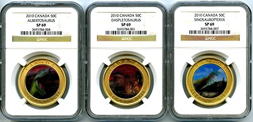 2010 Canada 50 Cent Dinosaur Exhibits Lenticular 3 Coin Complete Set NGC SP69