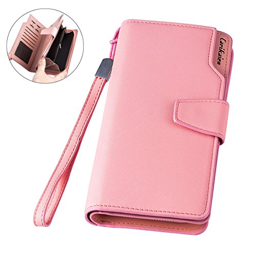 Women\'s Wallets Large Capacity Leather Clutch bag with Snap Closure (Pink)
