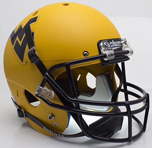 NCAA West Virginia Mountaineers Matte Gold Replica Helmet, One Size, White by Schutt