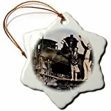 3dRose Scenes from the Past Magic Lantern Slides - Couple on a Steam Engine Locomotive Vintage 1920s - 3 inch Snowflake Porcelain Ornament (orn_269959_1)