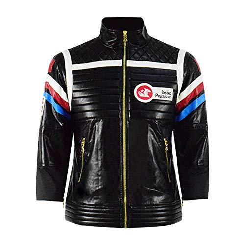 Hot Singer Cosplay Jacket Halloween Costume Black Leather Punk Biker Coat (Medium, Black)