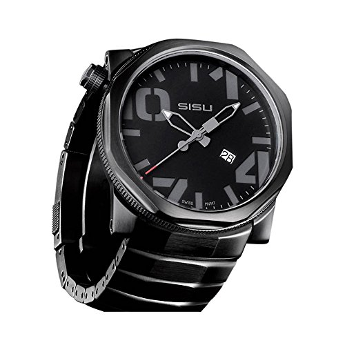 SISU Bravado Q5 Quartz Men's Watch, Black Dial, Black PVD Stainless Steel Bracelet (Model: BQ5-50-BSS)