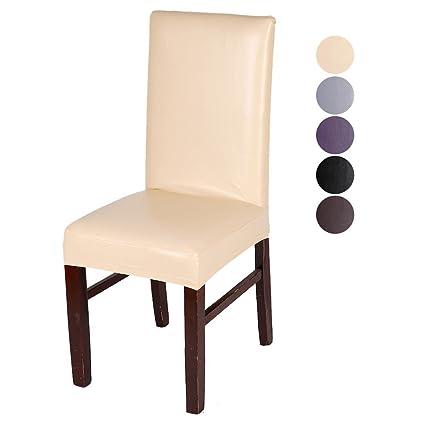 Inroy 4PCS elásticas PU Fundas para sillas Polipiel cubrir ...