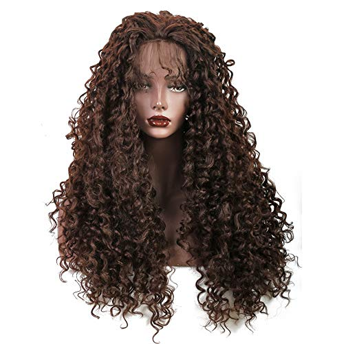 Wiginway Synthetic Lace Front Long Afro Kinky Curly Wigs For Women Dark Brown With Babyhair Lace Front -