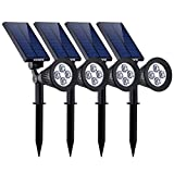 VicTsing 4 Pack Solar Spotlights,The Third Generation 2-in-1 Waterproof Adjustable 4 LED Wall / Landscape Solar Lights with Automatic On/Off Sensor for Driveway, Yard, Lawn, Pathway, Garden