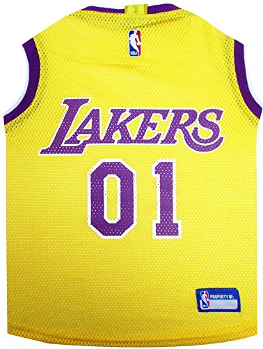 NBA LOS ANGELES LAKERS DOG Jersey, Large - Tank Top Basketball Pet Jersey