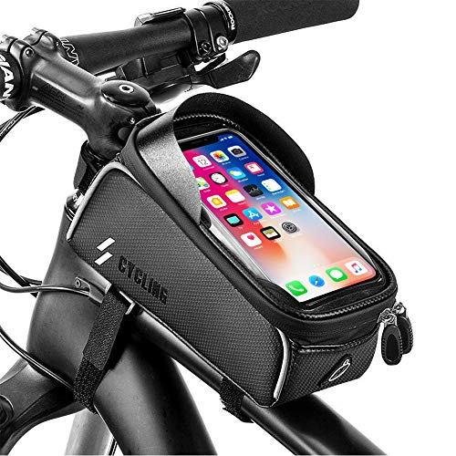 YEHOBU Bike Frame Bag Handlebar Bag Mountain Bicycle Phone Holder Front Frame Bag Waterproof Top Tube Storage Bag Cycling Phone Touch Screen Mount Pack for iPhone 7 8 Plus X XS Below 6.0 inches
