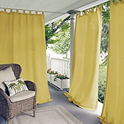"Elrene Home Fashions Indoor/Outdoor Solid Tab Top Single Window Curtain Drape, 52""x84"" (1 Panel), Yellow"