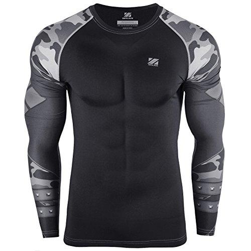 - zipravs Mens Compression Longsleeve Crossfit Jiu Jitsu Fitness MMA BJJ T Shirt (S~3XL)