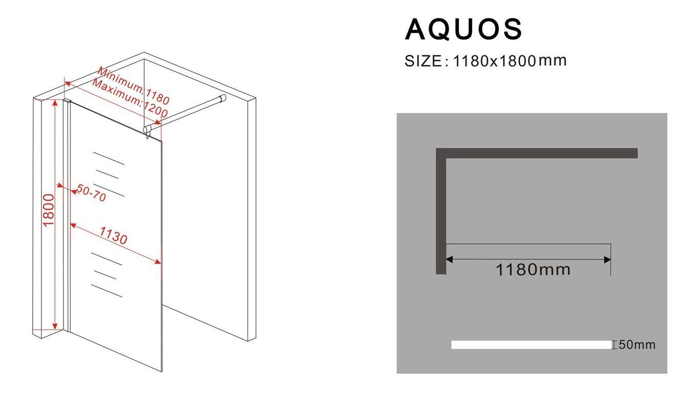 10 mm Duschwand AQUOSSpezial 118 x 180 cm