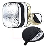 "24"" * 36"" / 60 * 90cm 5 in 1 (Gold/Silver/White/Black/Translucent) Multi Portable Collapsible Photography Light Reflector"