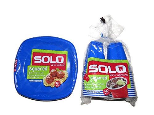 SOLO Plastic Plate & Cup Bundle, Blue Plastic Dinner Plates (30 ct) and Blue Plastic Cups (30 ct) (18 oz)