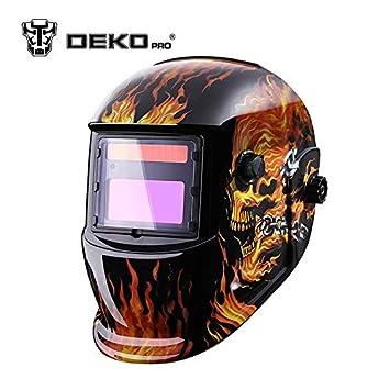 DEKOPRO - Máscara de Soldadura eléctrica para máquina de soldar con diseño de Calavera Solar y oscurecimiento automático MIG MMA, Rojo: Amazon.es: Deportes ...