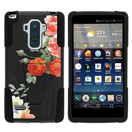LG G Stylo Case, Dual Layer Shell STRIKE Impact Kickstand Case with Unique Graphic Images for LG G Stylo LS770, LG G4 Stylus (T Mobile, Boost Mobile, Sprint) from MINITURTLE | Includes Clear Screen Protector and Stylus Pen - Romatic Flowers