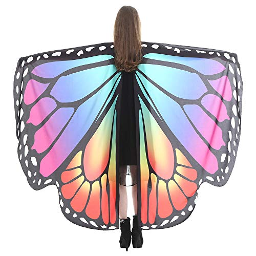 VEFSU Women Butterfly Wings Party Shawl Scarves Ladies Nymph Pixie Poncho Costume Accessory (J) -