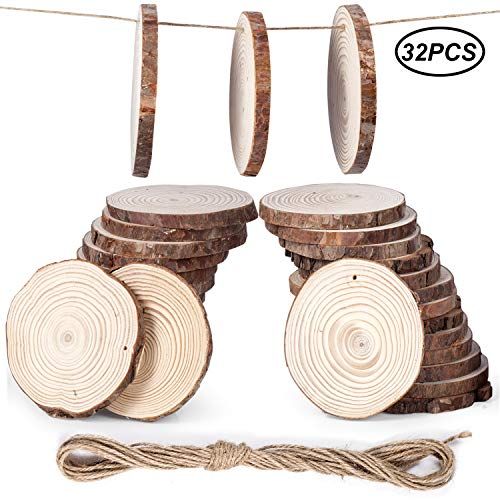 Unfinished Wood Slices Crafts 32pcs Natural Tree Bark Circle Pre-drilled Wooden Discs Great for Arts and DIY Crafts,Christmas Ornaments,Rustic Wedding Centerpiece,Home Decor(4.3