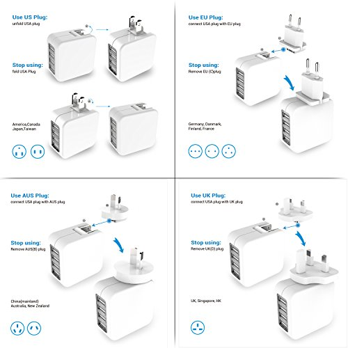 Travel Adapter MoMoCity Universal 4-Port Wall Charger with US UK EU Plugs – For Smart Phones,Tablets,Music Players,Cameras and More – White