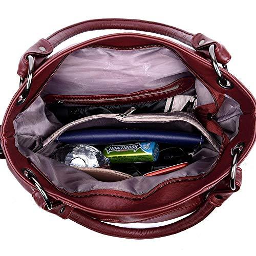 WWAVE Fashion Tout Ladies Main Dames épaule pour Burgundy à Visage Sacs Couture féminines Doux fourre CYBAxwCrHq