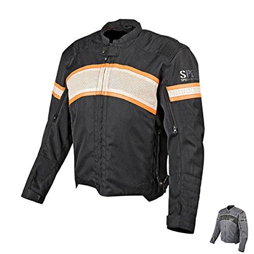 Speed and Strength Cruise Missile Men's Motorcycle Textile/Leather Jacket (Black/Cream/Orange, Medium)