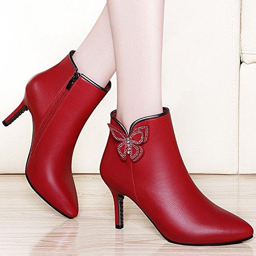 La High Zapatos A Más AJUNR Velvet Invierno De Con Señaló Mujer Llevar De Moda Otoño De Hembras Zapatos Versión Botas Moda Zapatos Coreana Moda Heeled Bien Martin 34 Cosas 39 Rojo De De De Mujer pZpx17qw