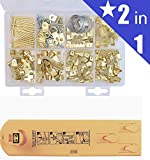 GoldBrink Picture Hanging Kit (220 pieces - Hangs 85 Items) + FREE Picture Hanging Tool - Easily, Quickly and Accurately Hang Pictures, Clocks, Mirrors and Other Decorations