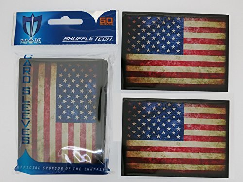 Max-Pro 100 USA AMERICAN FLAG Shuffle-Tech Sleeves Iconic Flags Collection (fits Magic / MTG, Pokemon Cards) - Collection Tech