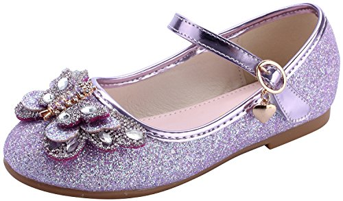 miaoshop Girls Ballerina Flat Wedding Dress Shoes Kids Party Dance Crystal Butterfly Mary Janes (12.5 M US Little Kid, Purple)