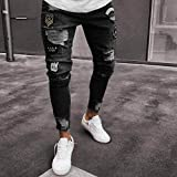 Faionny Men Jeans Slim Zipper Denim Trousers Skinny Frayed Pants Distressed Rip Pants