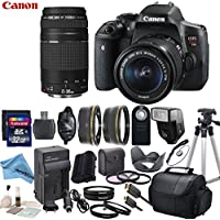 Canon EOS T6i Digital SLR Camera with EF-S 18-55mm STM Lens & EF 75-300mm f/4-5.6 III Lens with eDigitalUSA Premium Kit - International Version