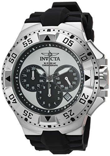 Excursion Dial Black - Invicta Men's Excursion Stainless Steel Quartz Watch with Silicone Strap, Black, 30 (Model: 23038