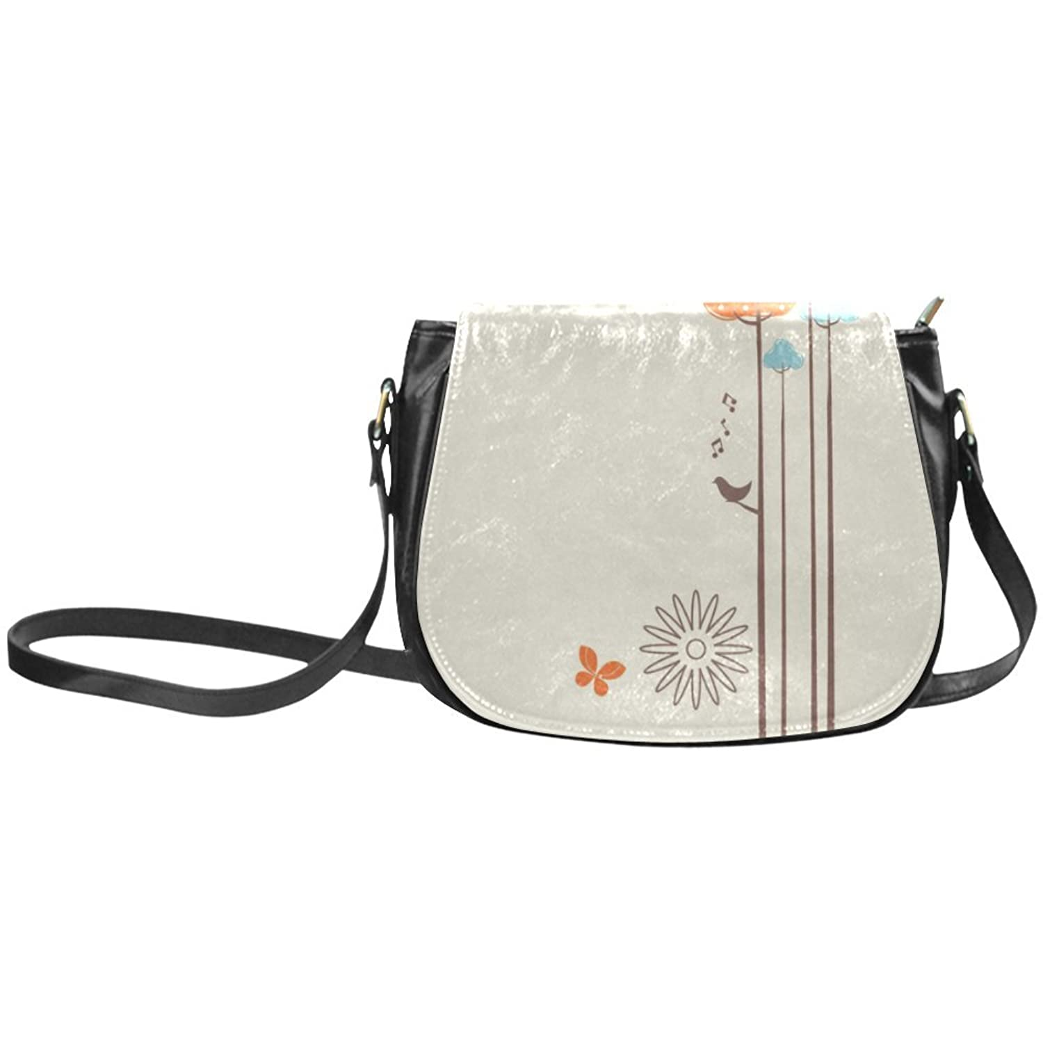 meincare Women's Cartoon Simply Flowers Butterfly PU Leather Classic Saddle Bag