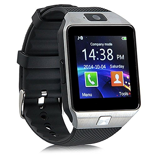 Efanr DZ09 Bluetooth Smart Watch Phone Mate Bracelet Activity Sport Exercise Fitness Sleep Tracker Pedometer with Camera Touch Screen SIM Card for Android iOS Samsung iPhone Smartphone -Black